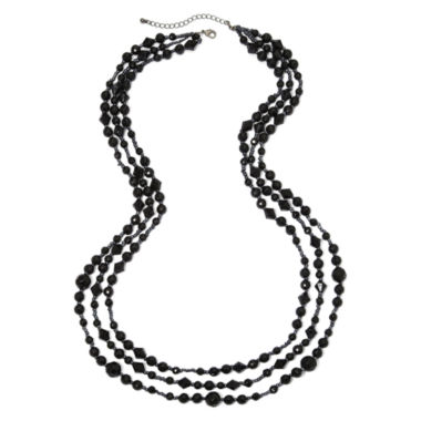 jcpenney.com | Mixit™ Triple-Strand Jet Black Bead Necklace