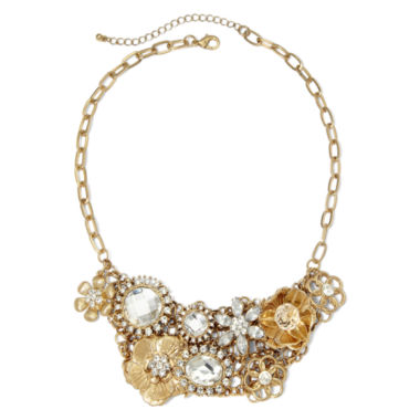 jcpenney.com | Crystal Flower Bib Necklace