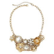 Crystal Flower Bib Necklace