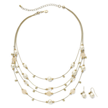 jcpenney.com | Faux Pearl & Bead Necklace & Earring Set