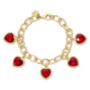 Monet® Red Crystal Heart Charm Bracelet in Box