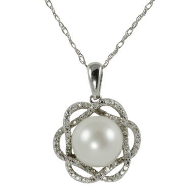 jcpenney.com | Freshwater Pearl & Diamond Pendant Necklace