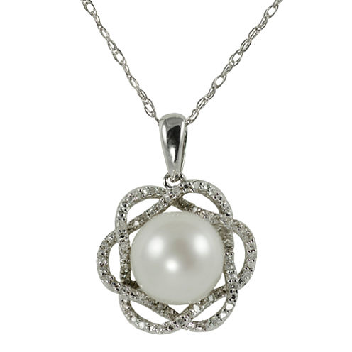 Freshwater Pearl & Diamond Pendant Necklace