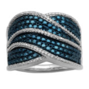 1/10 CT. T.W. Genuine White & Irradiated Blue Diamond Wave Ring