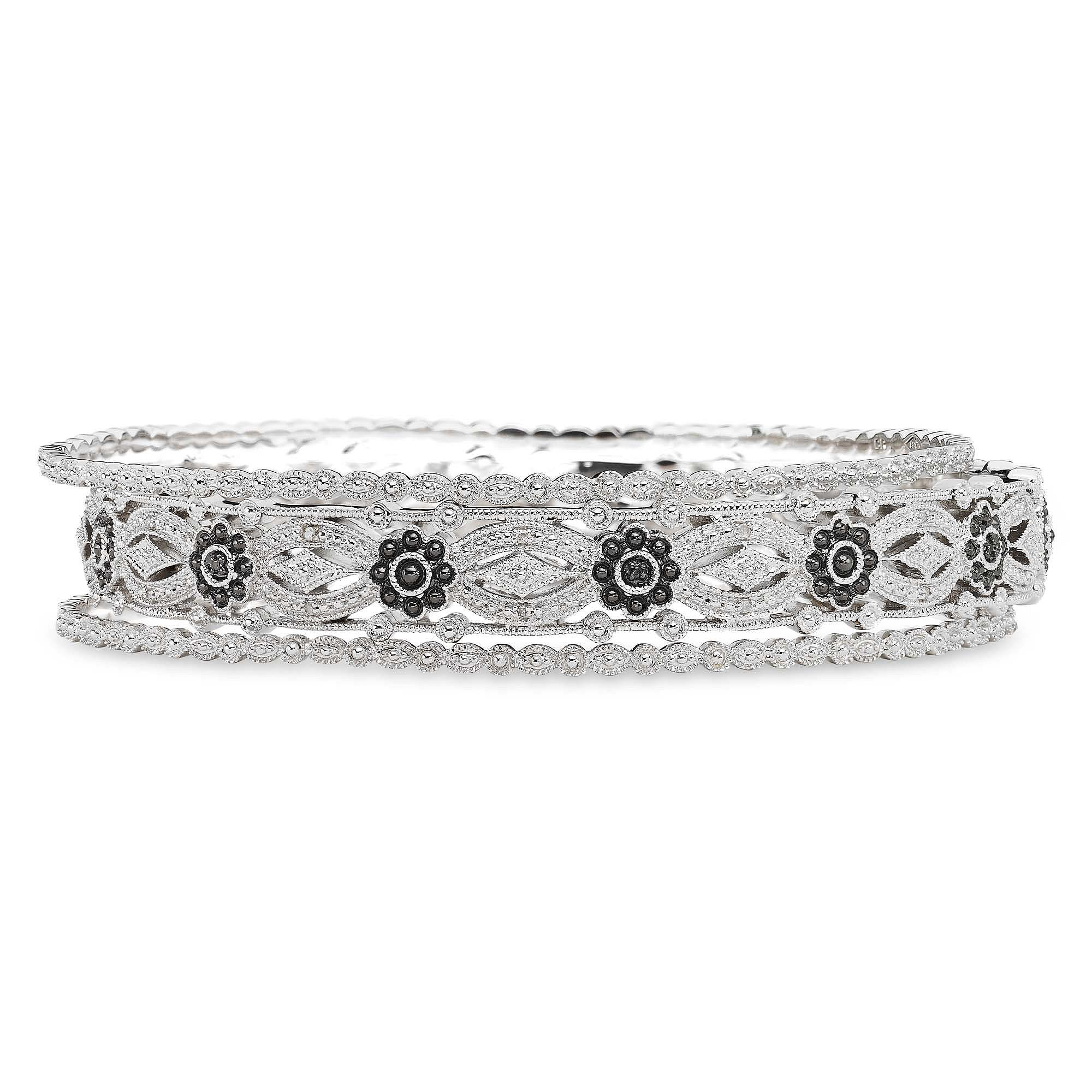 Vintage Inspirations™ 1/10 CTT.W. Genuine White & Color-Enhanced Black Diamond 3-pc. Bangle Set plus size,  plus size fashion plus size appare