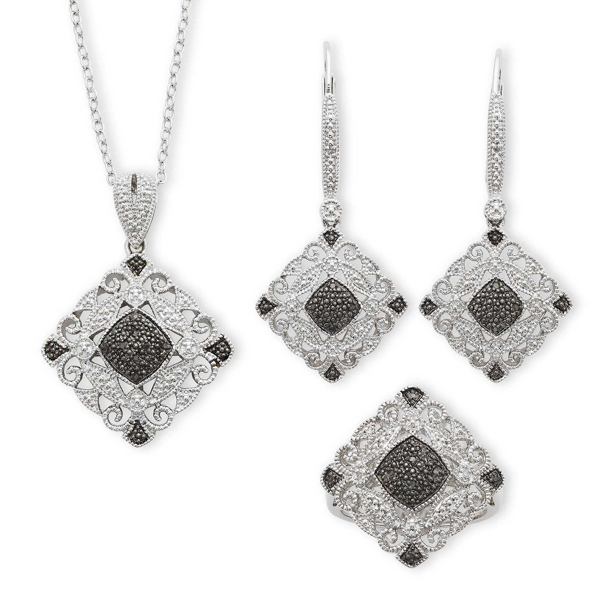 Vintage Inspirations™1/10 CTT.W. Genuine White & Color-Enhanced Black Diamond 3-pc. Jewelry Set plus size,  plus size fashion plus size appare