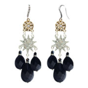 ZOË + SYD Black Onyx & Crystal Star Chandelier Earrings