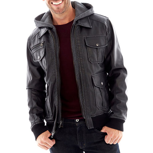 Excelled® Faux-Leather Bomber Jacket