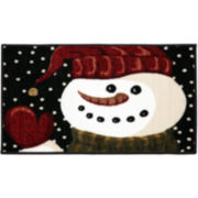 Snowman Hello Holiday Rectangular Rug