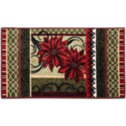 Poinsettia Collage Holiday Rectangular Rug