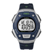 Timex® Ironman Mens Blue Bezel Blue Resin Strap 30-Lap Sport Watch T5K8237R