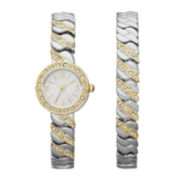 Womens Crystal-Embellished Open-Link Watch and Bracelet Set