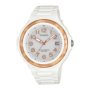 Casio® Womens Print Bezel White Resin Strap Solar Watch LXS700H-7B3V