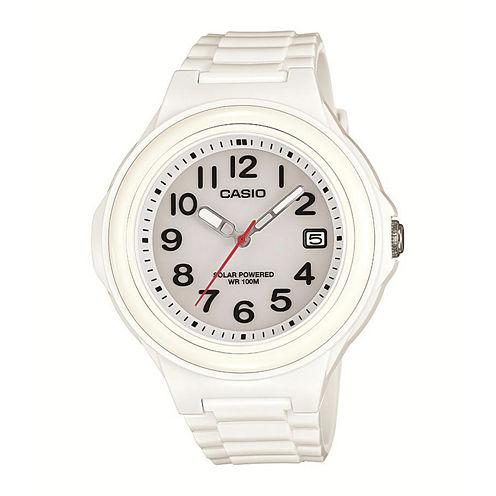 Casio® Womens White Bezel White Resin Strap Solar Watch LXS700H-7BV