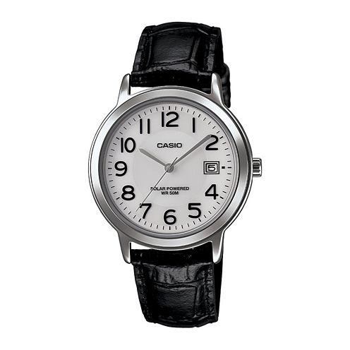 Casio® Mens Black Leather Strap Solar Watch MTPS100L-7B1