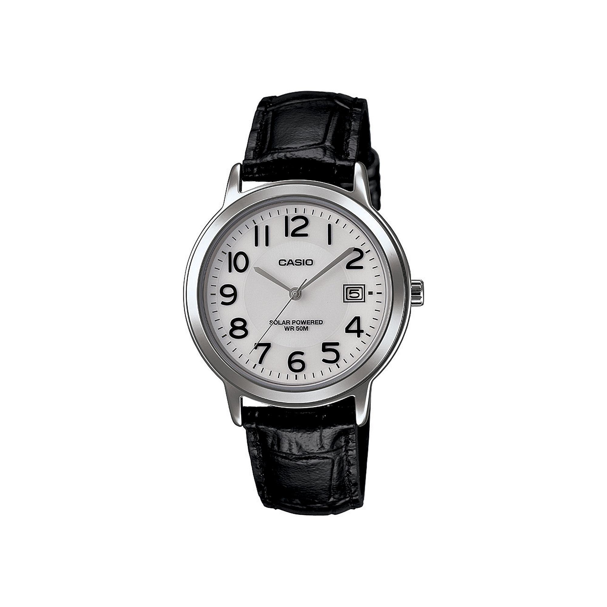 Casio Mens Black Leather Strap Solar Watch MTPS100L-7B1