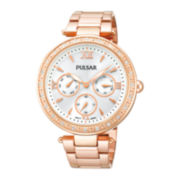 Pulsar® Womens Crystal-Accent Rose-Tone Stainless Steel Bracelet Watch PP6104