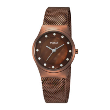 jcpenney.com | Pulsar® Womens Crystal-Accent Brown Stainless Steel Mesh Watch PH8055