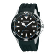 Pulsar® Mens Black Silicone Strap Watch