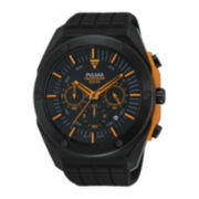 Pulsar® Mens Black Silicone Strap Chronograph Sport Watch