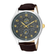 Pulsar® Mens Brown Leather Strap Sport Watch