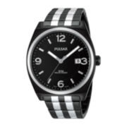 Pulsar® Mens Black Stainless Steel Watch