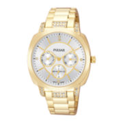 Pulsar® Womens Crystal-Accent Gold-Tone Stainless Steel Bracelet Watch