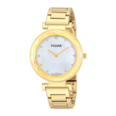 jcpenney.com | Pulsar® Womens Crystal-Accent Gold-Tone Stainless Steel Bracelet Watch PM2080
