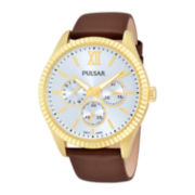 Pulsar® Womens Brown Leather Strap Watch