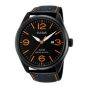 Pulsar® Mens Black Leather Strap Sport Watch