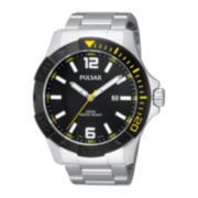 Pulsar® Mens Stainless Steel Sport Watch