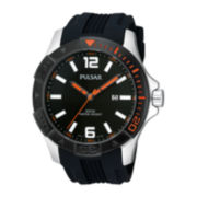Pulsar® Mens Black Silicone Strap Sport Watch