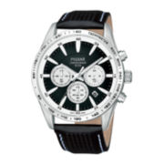Pulsar® Mens Black Leather Strap Chronograph Sport Watch