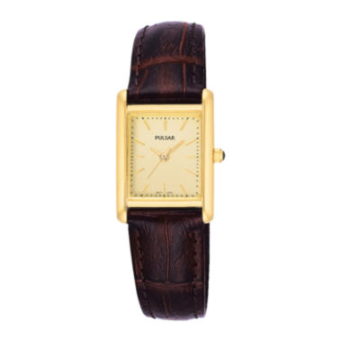 jcpenney.com | Pulsar® Womens Brown Leather Strap Watch PTC386