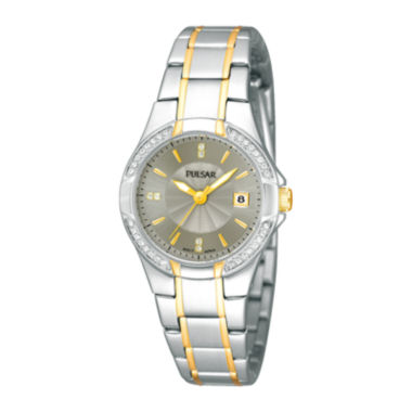 jcpenney.com | Pulsar® Womens Crystal-Accent Two-Tone Stainless Steel Bracelet Watch  PH7294