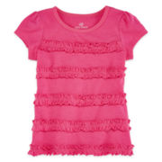 Okie Dokie® Short-Sleeve Ruffle Tee - Girls 2t-5t