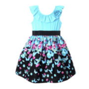 Pinky Sleeveless Butterfly Print Dress - Girls 2t-4t