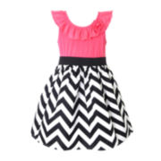 Pinky Chevron Print Dress - Girls 2t-4t