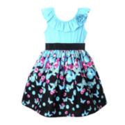 Pinky Butterfly Print Dress - Girls 4-6x