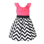 Pinky Chevron Print Dress - Girls 4-6x