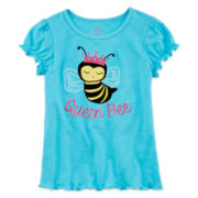 Okie Dokie® Cap-Sleeve Ruffle Tee - Girls 4-6x