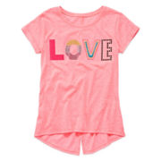 Arizona Short-Sleeve Split-Back Hem Tee - Girls 7-16 and Plus