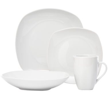 jcpenney.com | Tabletops Unlimited® Quinto White Porcelain Square 16-pc. Dinnerware Set