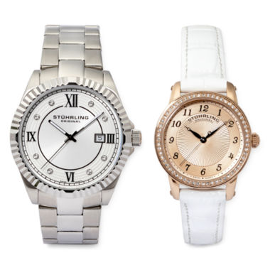 jcpenney.com | Stührling® Original Crystal-Accent Stainless Steel Watch