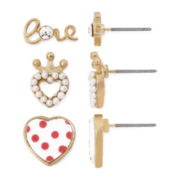 Gold-Tone Love Hearts 3-pr. Earrings Set