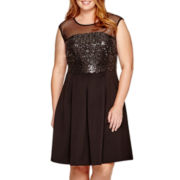 Studio 1® Sleeveless Sequin Fit-and-Flare Dress - Plus