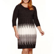 Studio 1® 3/4-Sleeve Ikat Print Sweater Dress - Plus