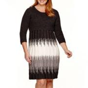 Studio 1® 3/4-Sleeve Ikat Print Sweater Dress - Plus