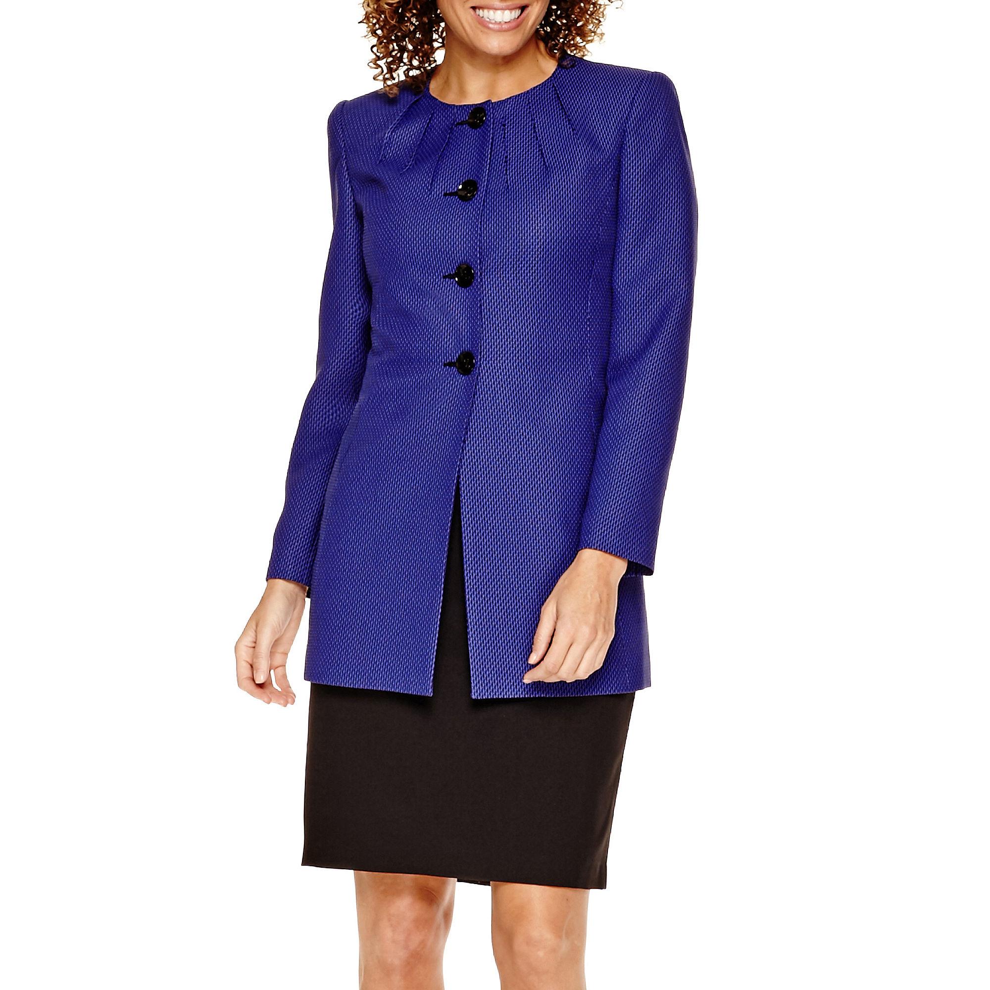 R & K Originals Pleat-Neck Jacquard Jacket and Skirt Suit - Petite
