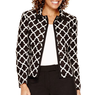 jcpenney.com | R&K Originals® Long-Sleeve 4-Button Tile Print Jacket and Pant Suit - Petite